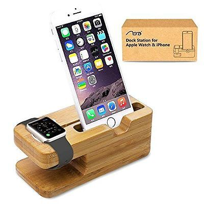 Apple iWatch and iPhone Stand Aerb Bamboo Wood New Charging Docking Station New