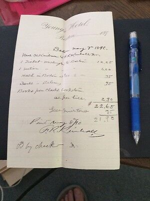 Vintage Hotel Receipt  History Young'S Hotel Boston Massachusetts 1890