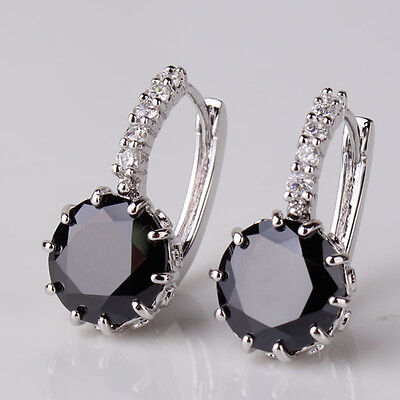 Gorgeous 18 kt white gold Round Cut lever back Black Diamond Earrings 3  CT~~