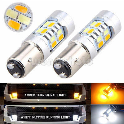 2PCs 1157 Turn Signal Light Switchback White/Amber Dual Color LED Bulb Stop Lamp