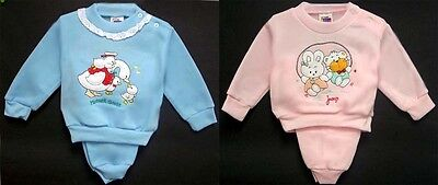 Baby Goods: Girls Jog Sets With Appliques - New Born 6 Sets ( E00450JS##)