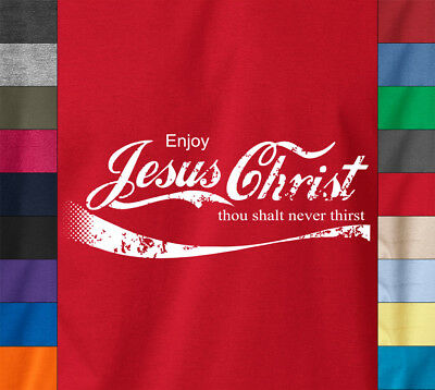 ENJOY JESUS CHRIST T-Shirt Coke Parody Christian God Church Ringspun Cotton Tee