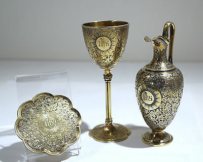 Victorian English Sterling Gilt-Silver Travel Communion Set Riley/Storer C. 1842