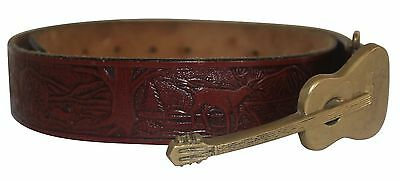 Men's Tooled Leather Brown Leather Belt With Solid Brass Guitar Buckle Size S