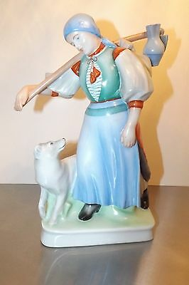 Zsolnay Figurine  Peasant Woman And Her Dog