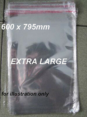 EXTRA LARGE 100 Clear Plastic Bags Resealable 600 x 795mm Cello Self Adhesive