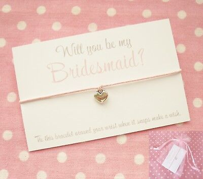 Will You Be My Bridesmaid Maid Of Honour Flower Girl? Wish Bracelet Gift & Bag