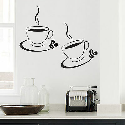 WALL STICKERS 2x TEA COFFEE CUP STICKERS KITCHEN WALL DECAL STICKERS N68