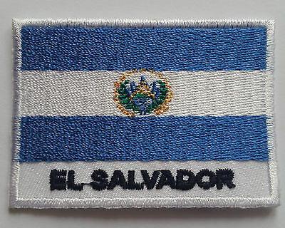 National Olympic Country Flag (Small) Sew On / Iron On Patch:- El Salvador