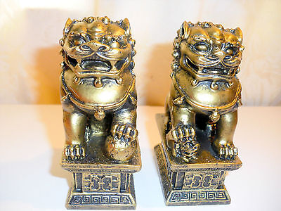 Pair Bronze colour Chinese Feng Shui Foo / Fu Lion Dogs Temple, small size