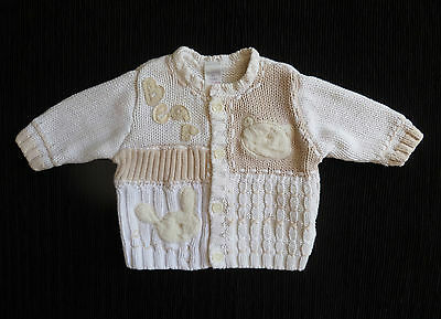 Baby clothes UNISEX BOY GIRL newborn 0-1m<10lb/4.5kg NEXT chunky cardigan cotton