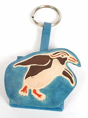 PENGUIN COIN PURSE on KEYRING blue recycled leather handmade fair trade NEW!