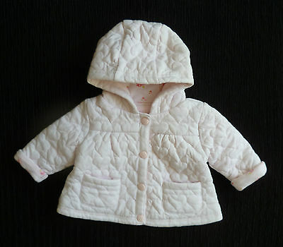 Baby clothes GIRL 0-3m NEXT pink quilted padded cotton-lined hood jacket/coat