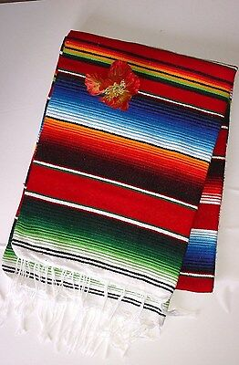 Mexican Red Serape Blanket XL Saltillo Traditional Folk Art Made in Mexico