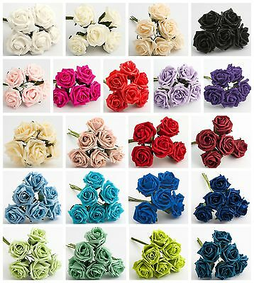 Bunch of 6 - 5cm Colourfast Foam Artificial Roses Wedding Flowers Bouquet