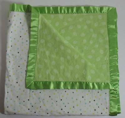 Just Born Lightweight Satin Edged Baby Blanket Lovey Dots & Green Leaves