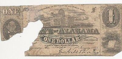 1863 State of Alabama $1 One Dollar Bill Civil War Currency Confederate Note!