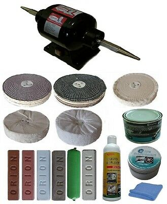 """8"""" 3/4hp Bench Polisher with 8 inch x 2 section Buffing Kit"""