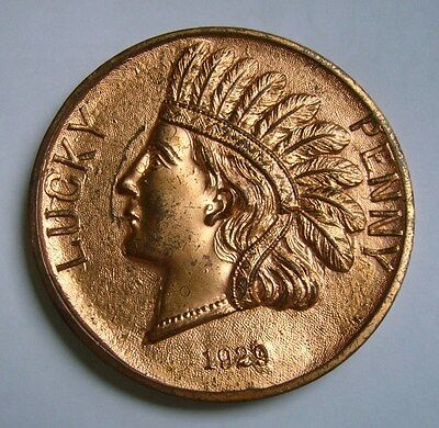 Indian Head, Lucky Penny 1929, Woolworth Building - New York Large Token / Medal