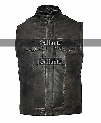 Stonewash Cut off Cowhide Leather Mens Vest Waiscoat ( Gilet Biker Motorcycle)