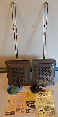 RARE Vintage LOT OF 2 POPEYE GRILL OUTDOOR POPCORN POPPER TIN METAL WOOD W/PAPER