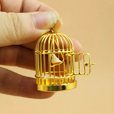 Dolls House Miniature Gold Metal Birdcage with Bird Fairy Garden Accessory