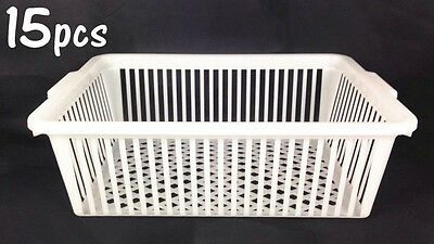 15x Handy Basket Multi Purpose Basket White Plastic Storage Organizer #4194
