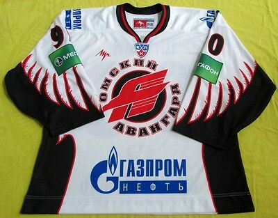Original KHL 2009-10 Omsk Avangard GAME ISSUED Jersey #90/Patches/Goaltender