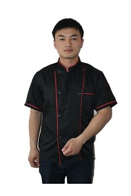 Short Sleeve Kitchen Cooker Working Uniform Chef Waiter Waitress Coat Jacket