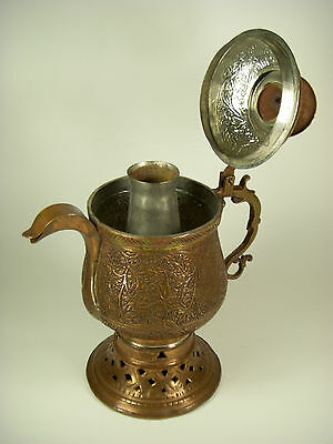 Rare Vntg Antique Persian Middle Eastern Copper Coffee Pot Hand Chased Leaf Tin
