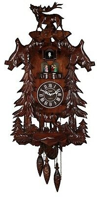 Vivid Large Deer Handcrafted Wood Cuckoo Clock with 4 Dancers Dancing with Mu...