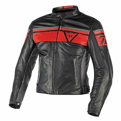 Leder Jacke Dainese BLACKJACK LEATHER JACKET , Schwarz-Rot-Grau Gr. 52