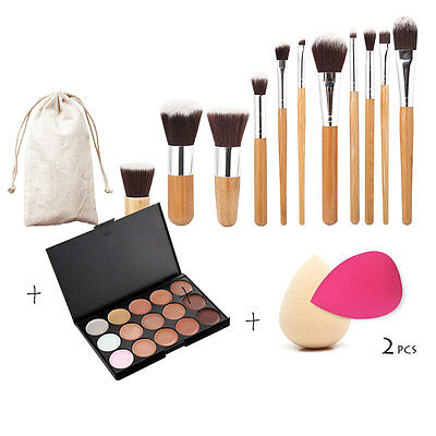15 Color Contour Face Cream Makeup Concealer Palette+11pcs Bamboo Brush Puff Set