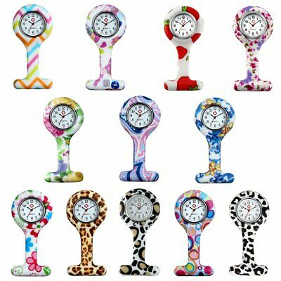 Silicone Nurse Watch Round Dial Tunic Brooch Fob Quartz Movement Pocket Watches