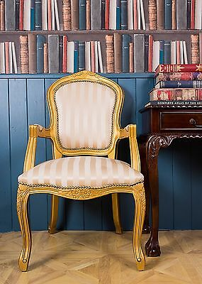 French Louis Armchair Gold Stripe Shabby Chic Bedroom Antique Style Chair Gilt