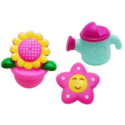 Set of 3 Rubber Bathing Bath Toy for Baby Toddler Mini Flower Watering Can