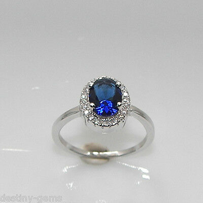 925 Silver Created Diamond Sapphire Blue Oval Cluster Ring GIFT BOXED made in UK