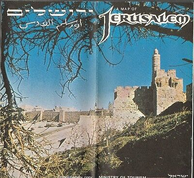 1973 Pictorial Road Map JERUSALEM Israel Synagogues Churches Mosques Schools Zoo