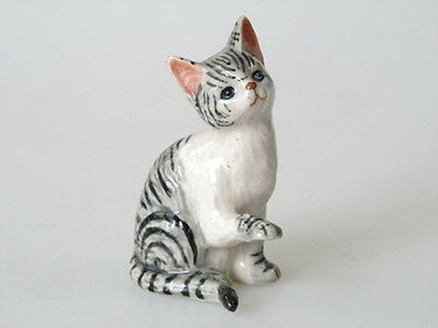 Handmade Miniatures Collectible Ceramic Porcelain Brown Tiger Cat FIGURINE