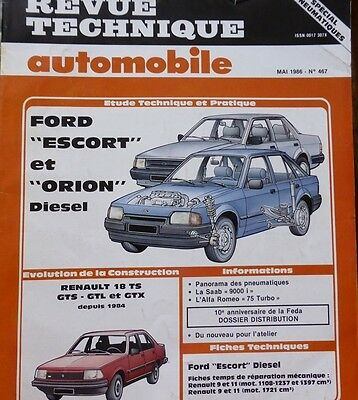 NEUF !  Revue technique FORD ESCORT ORION CL GHIA XR3i RS TURBO RTA 477 1987 R11