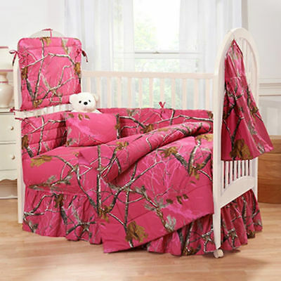Realtree AP Fuchsia Camo Crib Comforter - Nursery Baby Infant Camouflage Bedding