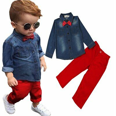 2pcs Toddler Kids Baby Boys Denim Coat Shirt Tops+Long Pants Clothes Outfits Set
