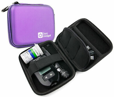 Purple Hard EVA Shell Travel Case w/ Clip for Insulin Diabetes Medical Supplies