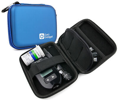 Blue Hard EVA Shell Travel Case w/ Clip for Insulin Diabetes Medical Supplies