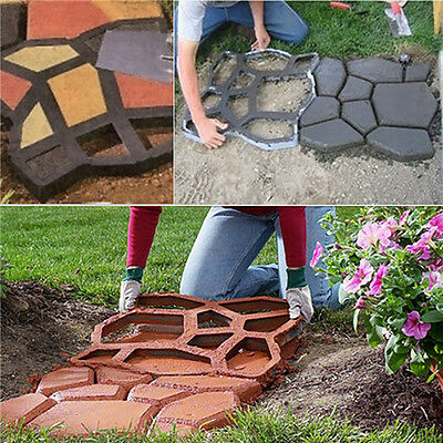 Plactic Pathmate Stone Paving Mold Concrete Stepping Walk Way Mould Paver