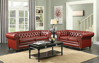 New Chesterfield Leather Seater Sofa Settee Red 3 +2 Seater Vintage Antique Faux