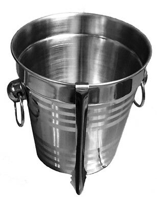 Stainless Steel Ice Bucket with Tong  Champagne Party Cooler Wine