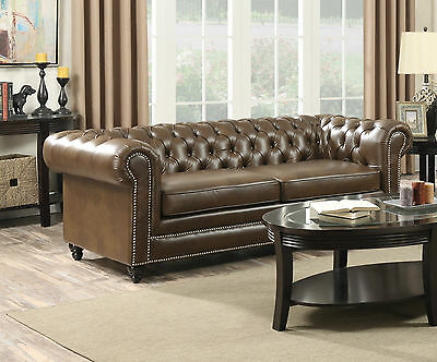 New Chesterfield Leather Seater Sofa Settee Brown Tan 3+2 Seater Vintage Antique