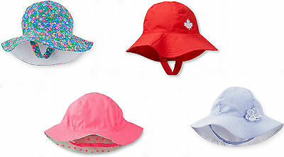 Carter's Baby Girls Maple Leaf Floral Reversible Bucket SunHat 3-6 0-9 12-24 NWT