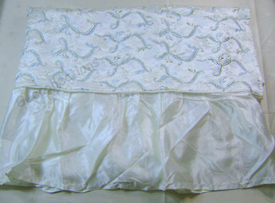 Adorable Embroidered Blue Floral White Satin Crib Comforter Coverlet NEW